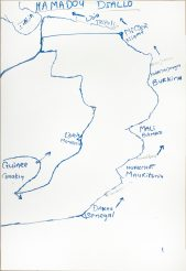 A hand-drawn map of a journey across Africa